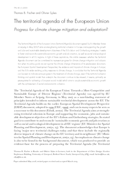 The territorial agenda of the European Union: Progress for climate change mitigation and adaptation?