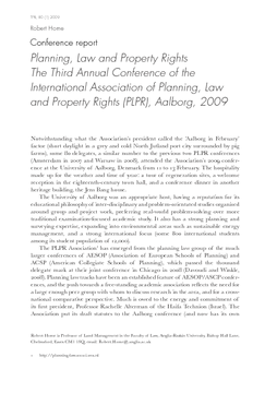 Conference report: Planning, Law and Property Rights The Third Annual Conference of the International Association of Planning, Law and Property Rights (PLPR), Aalborg, 2009