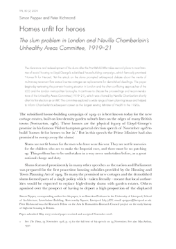 Homes unfit for heroes: The slum problem in London and Neville Chamberlain's Unhealthy Areas Committee, 1919–21