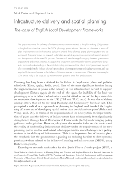 Infrastructure delivery and spatial planning: The case of English Local Development Frameworks