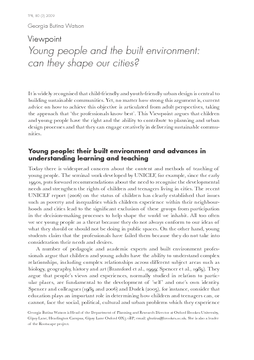 Viewpoint: Young people and the built environment: can they shape our cities?