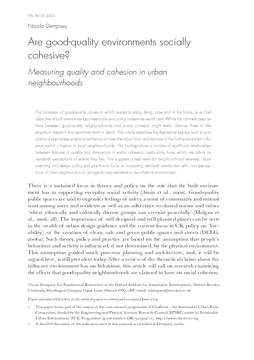 Are good-quality environments socially cohesive?: Measuring quality and cohesion in urban neighbourhoods