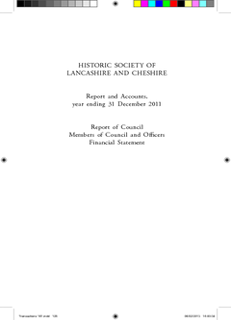HISTORIC SOCIETY OF LANCASHIRE AND CHESHIRE