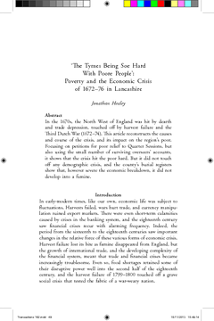 'The Tymes Being Soe Hard With Poore People': Poverty and the Economic Crisis of 1672–76 in Lancashire