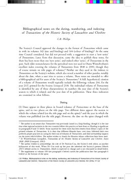 Bibliographical notes on the dating, numbering, and indexing of Transactions of the Historic Society of Lancashire and Cheshire