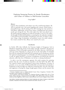Exploring Sentencing Patterns for Female Drunkenness and Crimes of Violence in Mid-Victorian Lancashire