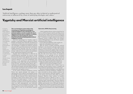 Vygotsky and Marxist artificial intelligence