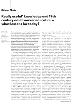 Really useful' knowledge and 19th century adult worker education – what lessons for today?