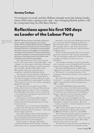 Reflections upon his first 100 days as Leader of the Labour Party