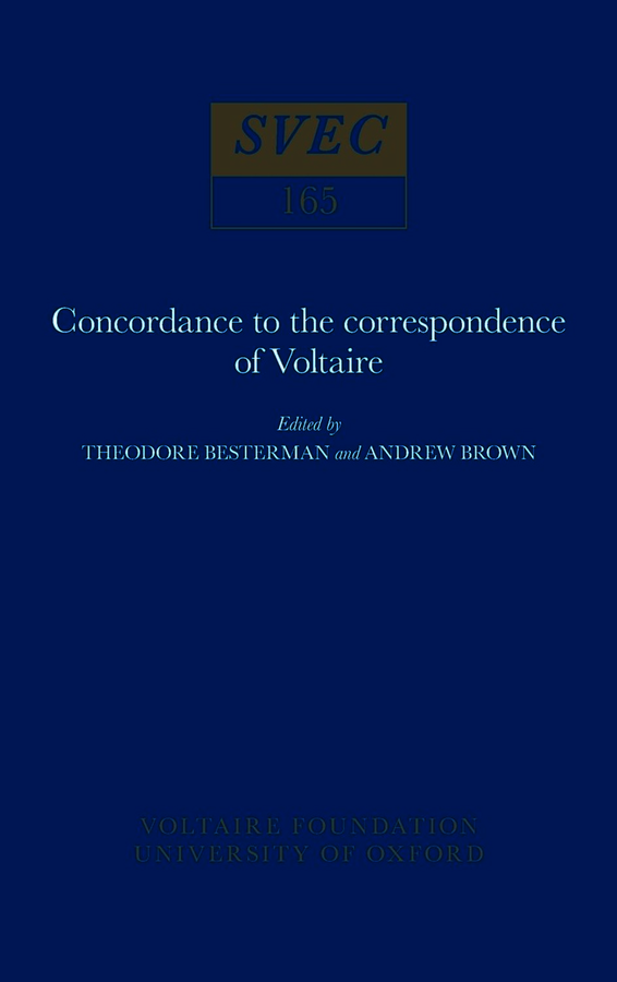Concordance to the Correspondence of Voltaire