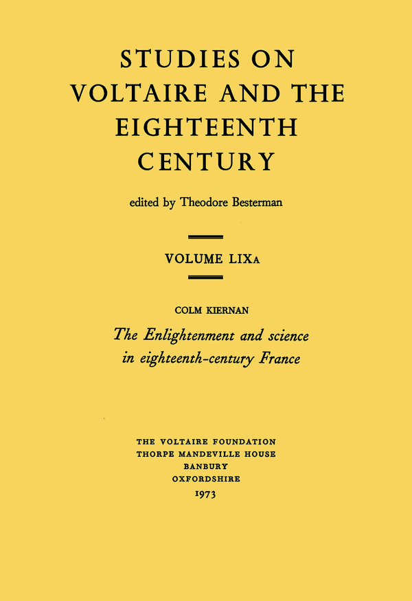 The Enlightenment and Science in Eighteenth-Century France