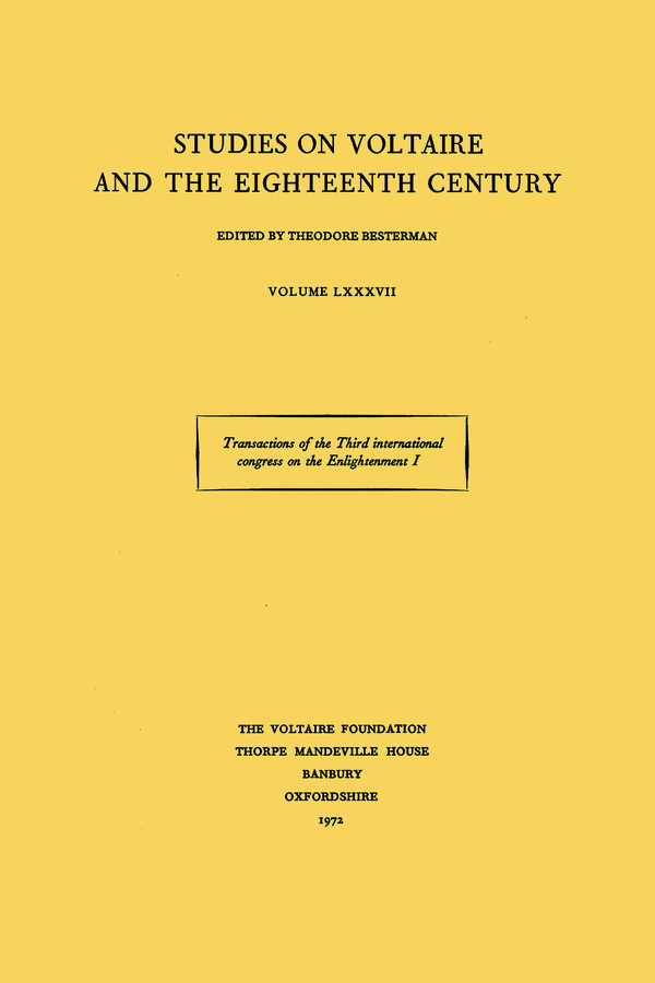 Transactions of the Third International Congress on the Enlightenment