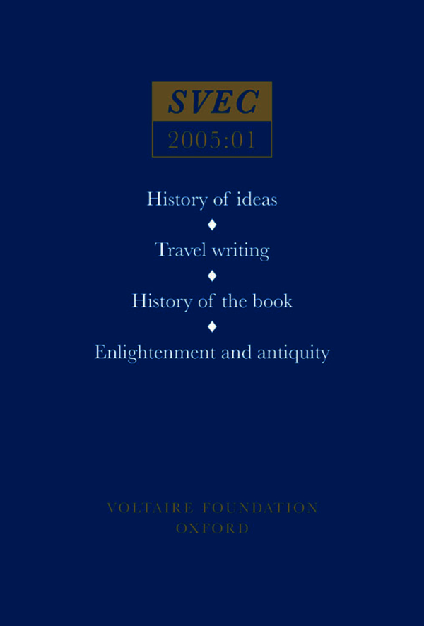 History of ideas; Travel writing; History of the book; Enlightenment and antiquity