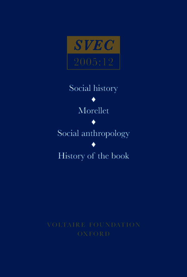 Social History; Morellet; Social Anthropology; History of the Book