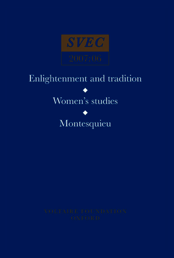 Enlightenment and tradition; Women's studies; Montesquieu