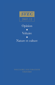 Opinion; Voltaire; Nature et culture