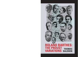 Roland Barthes: The Proust Variations