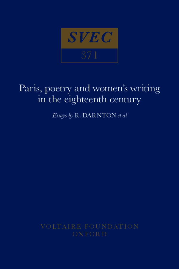 Paris, poetry and women's writing in the eighteenth century