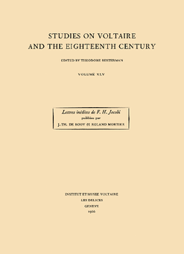 Les Années de formation de F. H. Jacobi