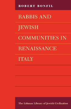 Rabbis and Jewish Communities in Renaissance Italy